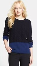 NWT VINCE WOOL/YAK BLUE/BLACK COLORBLOCK CABLE KNIT TOP SWEATER PULLOVER S $345