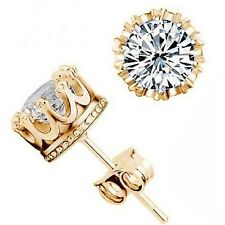 Almei Crown 18k Gold Plated Silver White Crystal Jewerly Earrings