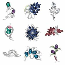 Colorful Charm Rhinestone Wedding Bridal Flower Brooch Pin Women Costume Jewelry
