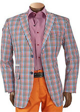 NWT INSERCH MAN'S BLAZER TWO BUTTONS SIDE VENTS NO LINING POLYESTER RED
