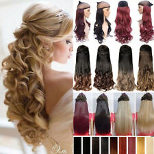 100% Natural Clip in Hair Extensions 3/4 Full Head Wavy Curly Straight Brown TXN