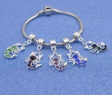 Scorpion Silver European Charm Crystal Spacer Bead Fit 925 Necklace Bracelet UK