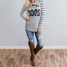 Woman Crewneck Letter Striped Top Blouse Fashion T-Shirt Jumper Pullover