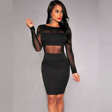 New Sexy Winter Dress Long Sleeve Mesh Patchwork Hollow Out Pencil Bodycon Dress