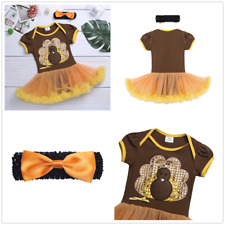 Glitter Toddler Baby Girls Thanksgiving Clothes Short Sleeve Romper Dress Set