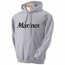 USMC MARINES HOODED HOODIE HOODY SWEATSHIRT GREY