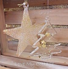 Christmas Tree Decorations Sparkling GOLD GLITTER Hanging Baubles STAR TREE