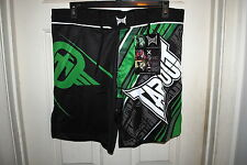 TAPOUT PERFORMANCE MMA FIGHT SHORTS BLACK AND GREEN SIZES 30 36 38 RP $64.99 NWT
