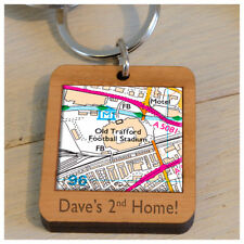 Personalised Wooden Football Ground Fan Keyring Favourite Place Man Utd Arsenal