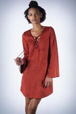 Autumn Breeze micro-suede athleisure tunic dress, rust - MINI red dress batwing