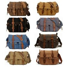 Men Vintage Canvas Leather Shoulder Military Messenger Satchel School Work Bag