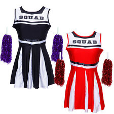 Ladies High School Musical Cheerleader Girl Uniform Costume Outfit with Pompoms