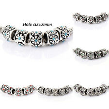 10pcs silver plated crystal Charm Flower Beads Fit Bracelets Chain Fashion lucky