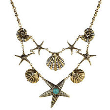 Ethnic Silver Star Pendant Chunky Turquoise Crystal Retro Bib Long Necklace
