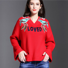 Occident autumn fashion embroidery long sleeve v-neck loose knitting sweater