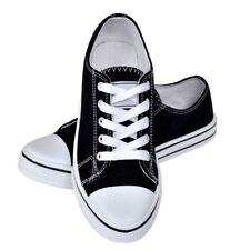 Canvas Sneaker Black Classic Women Low-top Lace-up Shoes Comfortable Fit Size 37