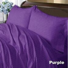 1000 TC Egyptian Cotton Bed Skirt/Duvet/Fitted/Flat/Pillow UK-Size Purple Stripe