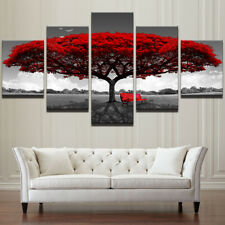 Red Tree Scenery Bench Painting Poster Modern Picture Canvas Wall Art Home Decor