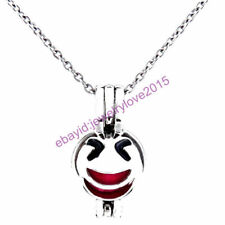 HY-K475 Silver 22mm Face Emoji Enamel Wink Smile Necklace Beads Cage Fit 5-8mm