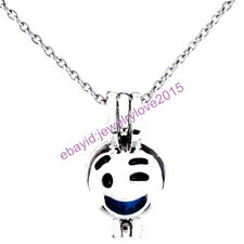 HY-K472 Silver 22mm Emoji Enamel Flushed Pleased Necklace Beads Cage Fit 5-8mm