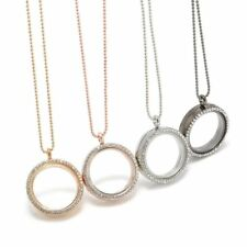 30mm Floating Charm Living Memory Round Crystal Glass Locket Pendant Necklace