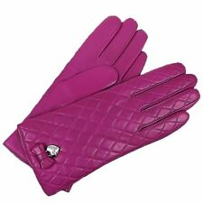 COACH Pink Leather Quilted Cashmere Lined Gloves Womens Wrist Bow Glove F83722