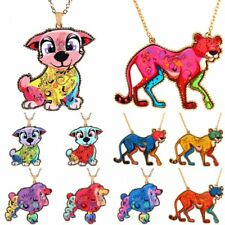 Women Printing Cute Animal Dog Leopard Pendant Necklace Sweater Chain Jewelry