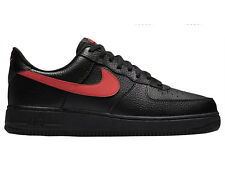 NEW MENS NIKE AIR FORCE 1 LOW BASKETBALL SHOES TRAINERS BLACK / UNIVERSITY RED