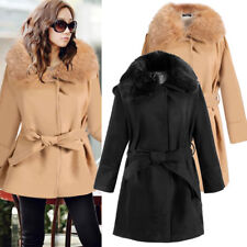 Women Woolen Blend Winter Coat Jacket Fur Collar Slim Casual Outwear Trench coat