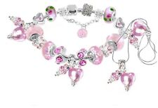 Pink Murano Glass Love Heart Beads European Charm Bracelet Necklace
