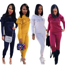 Women Ladies Work Suit Fashion Long Sleeve Ruffled Solid Casual Bodycon Jumpsuit