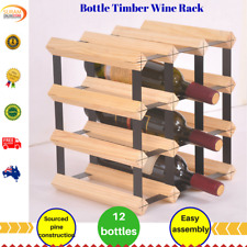 12 Bottle Timber Wine Rack Storage System stylish design Complete Wooden pine AU