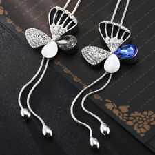 Rhinestone Butterfly Design Pendant  Women Long Sweater Chains Necklace Deluxe