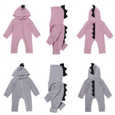 Cotton Kids Baby Boy Girl Cartoon Dinosaur Romper Hooded Jumpsuit Outfit Toddler