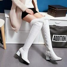 Winter Womens Fur Trim Over Knee Thigh High Boots Leather Shoes Block Heels Warm