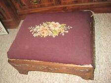 Victorian 19th Century Footstool Ottoman Stool Antique Needlepoint