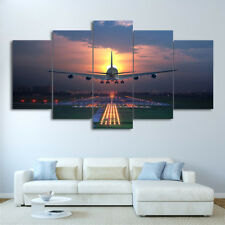 Sunset Lights Airplane Painting Poster Modern Picture Canvas Wall Art Home Decor