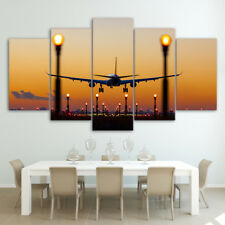 Airplane Sunset Glow Paintings Poster Modern Picture Canvas Wall Art Home Decor