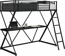 Kids X-Loft Metal Bunk Bed Frame with Desk-Space Saving Design-Twin,Black Silver