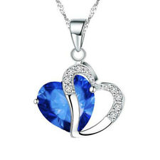 Crystal Love Heart Pendants Necklaces Jewelry Fashion Girls Lady  Amethyst UK