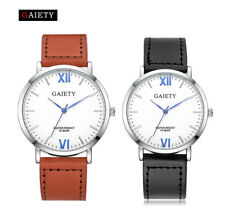 Casual Men's Watch Round Stainless steel Leather Band Quartz Analog Wrist Watch