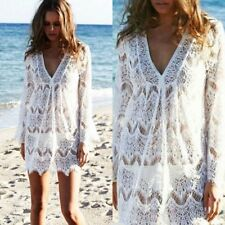 Sexy Women V-Neck Loose Bikini Cover Smock Hollow Out Tops Sunscreen Shirts SH