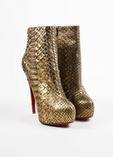 New CHRISTIAN LOUBOUTIN MISS CLICHY Platform Boots PYTHON BRONZE shoes 39.5