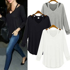 GN- Women V-neck Plus Size Tops Loose Long Sleeve T-Shirt Casual Blouse Splendid