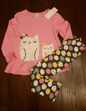 Gymboree Pink Gray Owl Long sleeve Tee Top Polka dots Leggings NWT