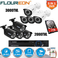 8CH 1080N HDMI Home CCTV DVR Camera Security System 3000TVL Outdoor Video Cam 1T