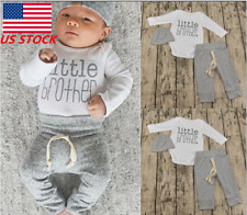 3PCS Infant Boy Girls Long Sleeve Shirt Knitted Pants + Hat Outfit Clothes Suit