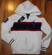 New Polo Ralph Lauren Boys Full Zip Fleece Hoodie Cream Big Pony Logo Size 5 6