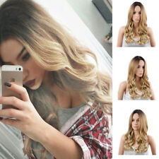 24'' Women Long Curly Wavy Wigs Natural Blonde Synthetic Cosplay Party Full Wig