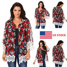 Womens Long Sleeve Floral Casual Lace Cardigan Party Cocktail Boho Top Blouse